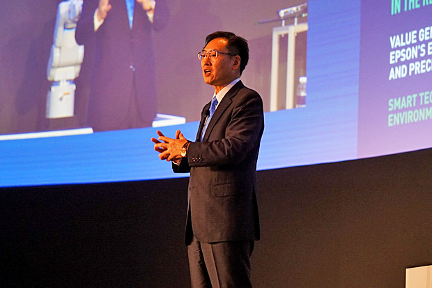 Minoru Usui, president Seiko Epson Corporation, outlines its vision in 2025 at 35 years anniversary of Epson Singapore.