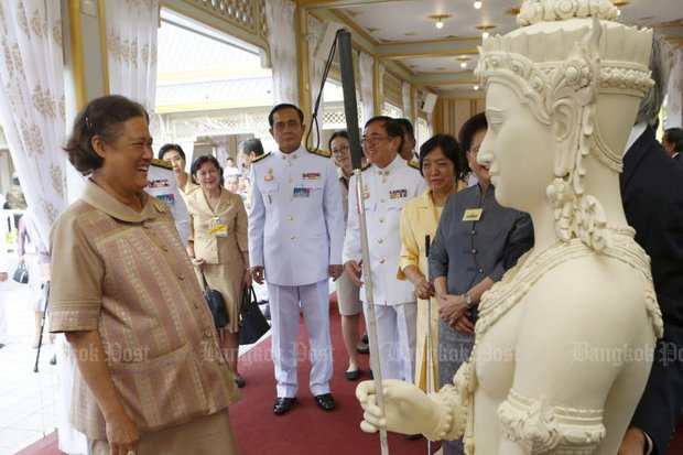 Her Royal Highness Princess Maha Chakri Sirindhorn opened the exhibition of the royal cremation of the late King Bhumibol Adulyadej at Sanam Luang Thursday. It will be open every day from 7am to 10pm, until Nov 30. (Photo by Pattarapong Chatpattarasill)