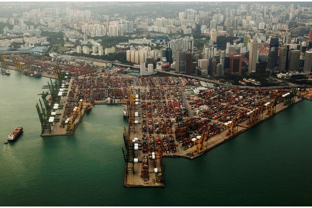 An aerial view of shipping containers stacked at the port of Singapore on Feb 14, 2012. (Reuters photo)