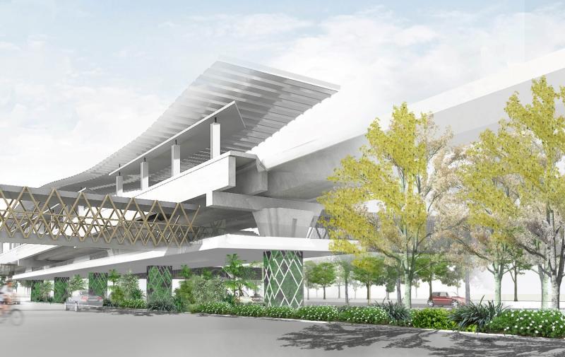 A digital rendition of Khon Kaen as a smart city, featuring the planned light rail transit project.