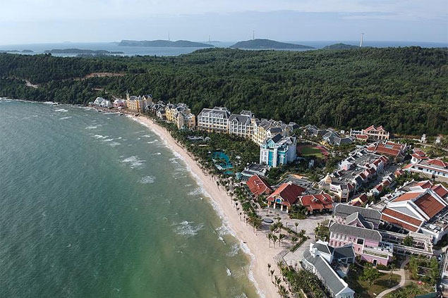 An aerial view of JW Marriot Phu Quoc Emerald Bay, the first five-star hotel to open on Vietnam's largest island.
