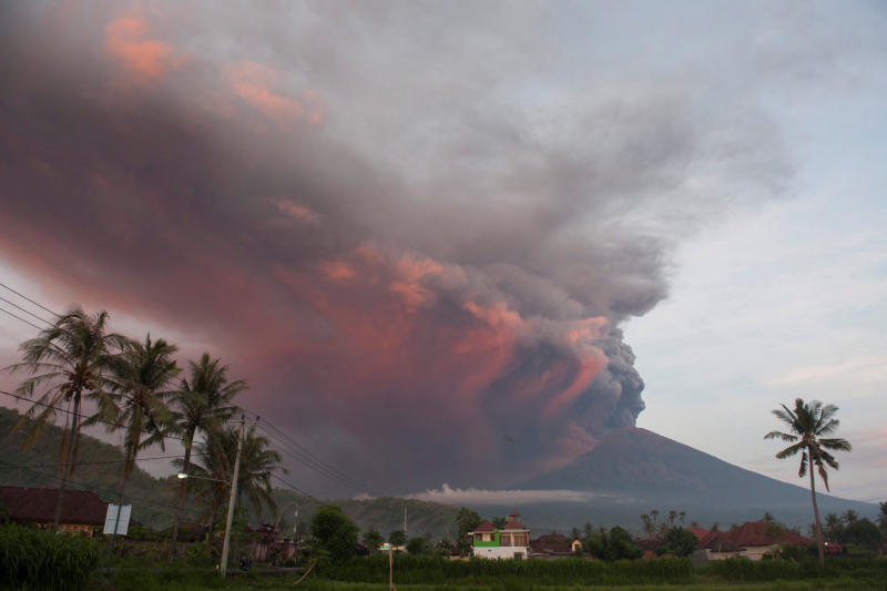 Mount Agung volcano erupts as seen from Culik Village, Karangasem, Bali, Indonesia, on Sunday. (Antara/Reuters photo)