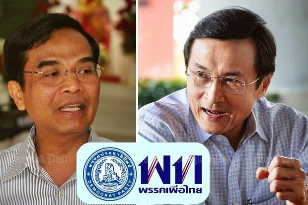 Democrat Party deputy leader Nipit Intarasombat (left) and Chaturon Chaisaeng of Pheu Thai. The two agree that a Democrat-Pheu Thai alliance is unlikely but possible if needed to prevent an unelected, military-backed prime minister from taking office after an election. (Bangkok Post file photos)