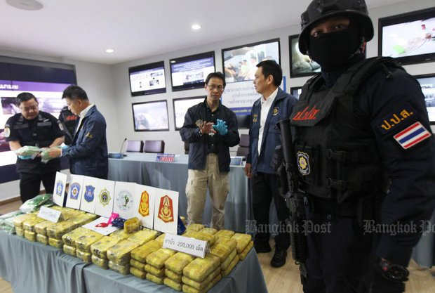 Drug raids, seizures, arrests and jailing drug abusers are the main features in the 'new' Narcotics Control Act presented by the military regime. (File photo by Thiti Wannamontha)
