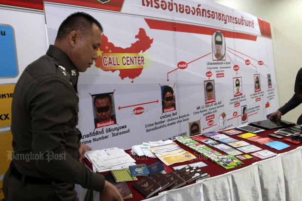 Police display assets representing 120 million baht, seized after they arrested an Indonesian national and two Thais accused of running a telephone scam network. (Photo by Tawatchai Kemgumnerd)