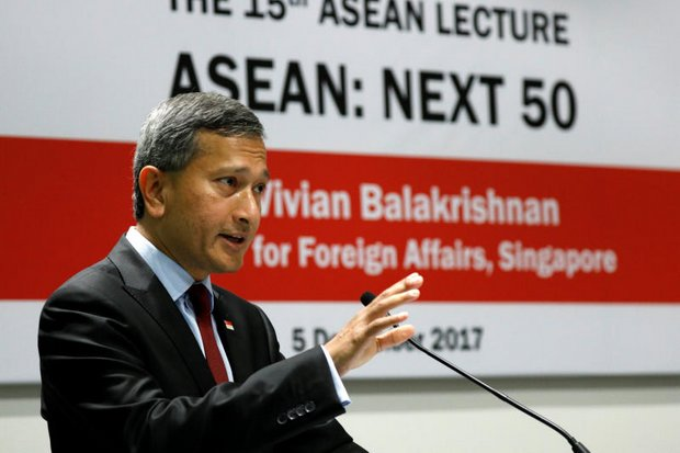Singapore's Foreign Minister Vivian Balakrishnan speaks at the 15th Asean Lecture on