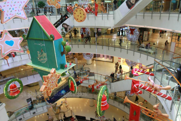 Christmas decorations are pictured at the CentralWorld shopping mall in Bangkok. (Bangkok Post photo)