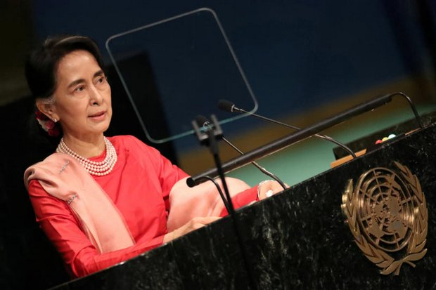 Myanmar leader Aung San Suu Kyi addresses the UN General Assembly. Her government has launched new diplomatic offensives aimed at heading off calls for sanctions at the UN. (Reuters file photo)