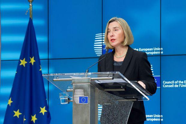 Federica Mogherini, high representative of the EU for Foreign Affairs and Security Policy, speaks after the EU Foreign Affairs ministers meeting where Thailand was discussed in Brussels on Monday. (European Union photo)