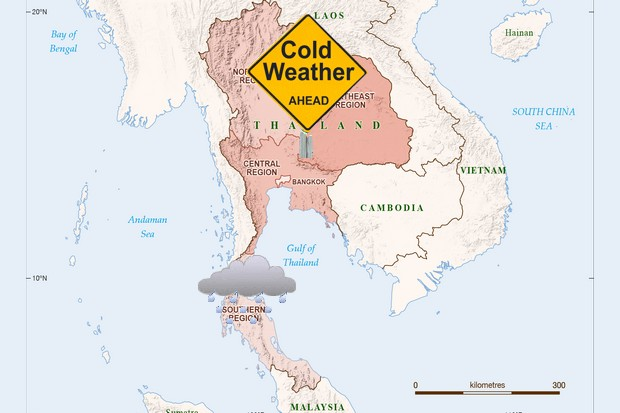 This week will see extreme weather in the North, Northeast and South, with cold weather above Bangkok and wet below. (Map ANU)