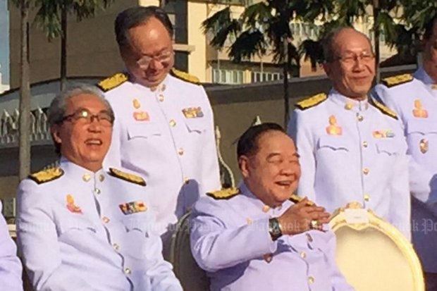 The chief spokesman of the Pheu Thai Party says the government is showing double standards by laughing off the multi-million-baht show by its Deputy Prime Minister Prawit Wongsuwon. (Bangkok Post file photo)