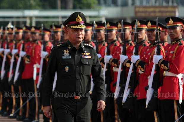 Gen Thanchaiyan Srisuwan, supreme commander of the Royal Thai Armed Forces, reviews the troops. (Photo by Chanat Katanyu)