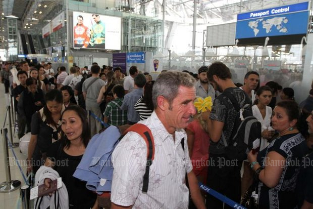 Once the foreign tourist is through the immigration queues at massively over-capacity airports, they get to contend with the world's second worst traffic. (File photo by Somchai Poomlard)