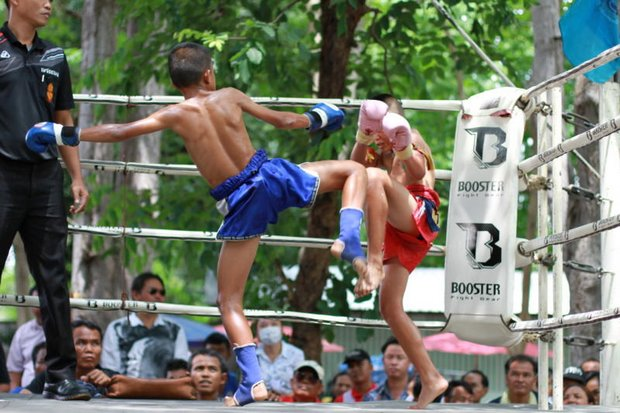 Children in a bout at Buri Ram. Specialists say the bouts expose children to the risk of brain injury. (Photo supplied)