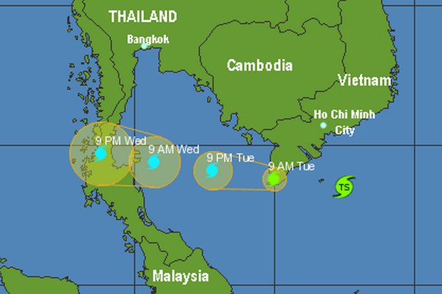 After striking southern Vietnam, Tembin has weakened due to wind shear, and will likely be a Tropical Storm (wind speeds of 63-119kph) when it hits Thailand around noon on Wednesday. (twitter/@wunderground