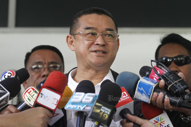 Rueangkrai Leekitwatana of the Pheu Thai Party is seen in a picture taken in April. On Wednesday he asked the Constitutional Court to nullify the NCPO's order for political parties to verify their memberships. (File photo)