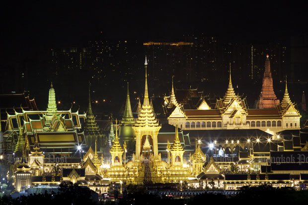 Lit up in full royal splendour: The majestic cremation of the late King Bhumibol Adulyadej at the Royal Crematorium. (Photo by Thanarak Khunton)