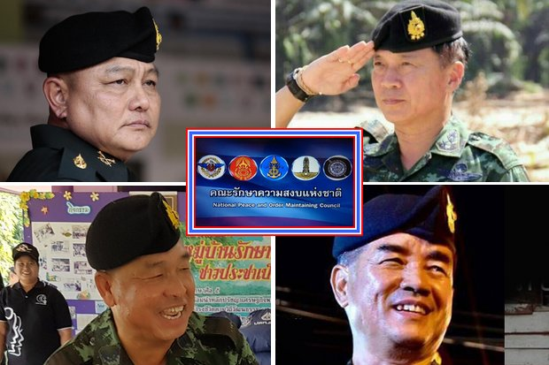 These three-star generals are in charge of shadowing politicians in the four military regions. Clockwise, from top left: Lt Gen Kukiat Srinaka, chief of the 1st Army Region surrounding Bangkok; Lt Gen Piyawat Nakwanich, commander, 4th Army Region, southern provinces; Lt Gen Tharakorn Thamwinthorn, commander of the 2nd Army Region (Northeast); Lt Gen Wijak Siribansop, commander of the 3rd Army Region in the North. (Photos supplied)