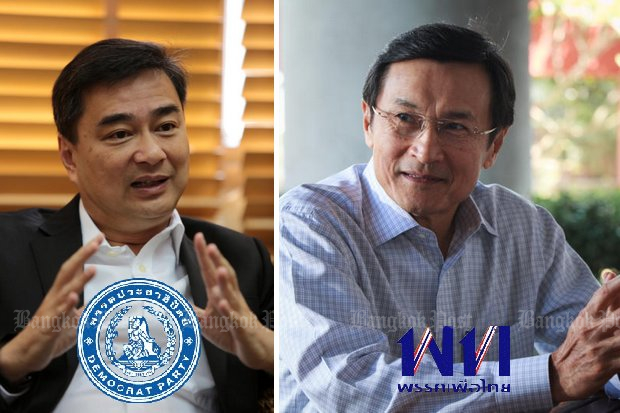 In the blue corner, Abhisit Vejjajiva, Democrat. In the red corner, Chaturon Chaisang, Pheu Thai. At this political moment, they have everything in common. (File photos)