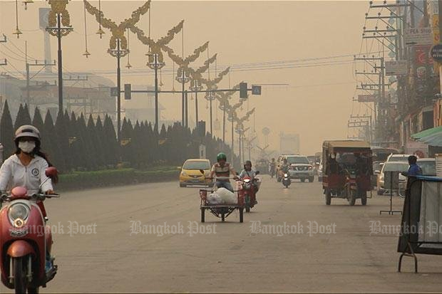 March 2017: The town of Chiang Rai is enveloped in smoke and haze caused by forest fires. The aim of a new three-nation cooperation agreement is to prevent the fires. (Bangkok Post file photo)