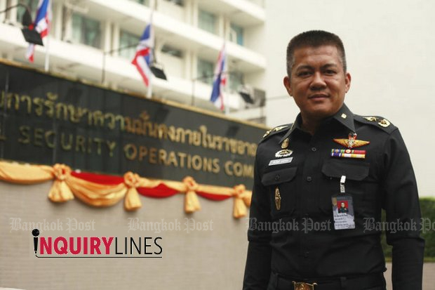Gen Peerawat Sangthong, a spokesman for the shadowy Internal Security Operations Command, denies there are any politics involved in the wider powers that Isoc has assumed. (Photo by Pornprom Satrabhaya)