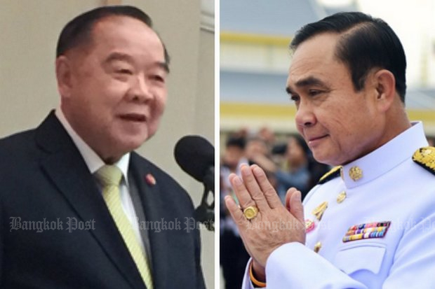 Powerful Minister of Defence and Deputy Prime Minister Prawit Wongsuwon is the first and heaviest hitter to voice public support for the military to form and back a political party. (Photo combo via Twitter/@wassanananuam)