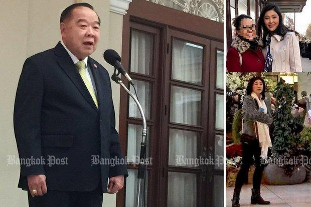 The two photos on the right have confirmed that ex-premier and fugitive Yingluck Shinawatra is in London. Deputy Prime Minister Prawit Wongsuwon is threatening officials to catch her or face prosecution themselves for dereliction of duty.
