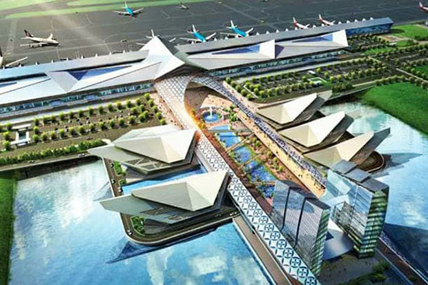 An artist's impression of the new airport in Phnom Penh. (Supplied/Khmer Tiems photo)