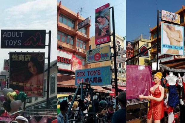 The pictures shared on social media show the props of the controversial film-making crew on Khao San Road, Bangkok, on Wednesday.