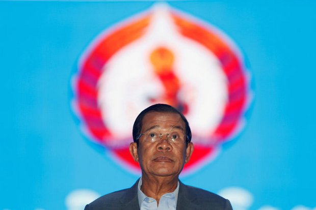 Cambodia's Prime Minister Hun Sen arrives to attend the Cambodian People's Party (CPP) congress in Phnom Penh on Friday. He lashed out at the press and 'fake news' on Sunday. (Reuters photo)