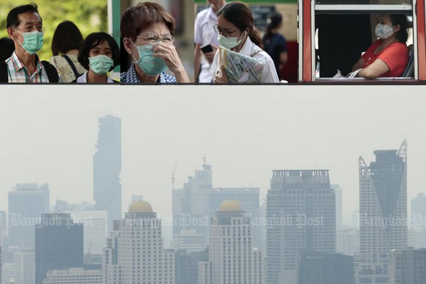 Plenty of Bangkok residents have already donned masks to protect against the smog, but the Department of Pollution Control says it is going to get worse before it gets better. (Photos by Patipat Janthong)