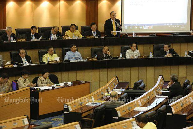 The National Legislative Assembly debates the MP election bill before voting 196-12 to pass it on Thursday. (Photo by Wichan Charoenkiatpakul)