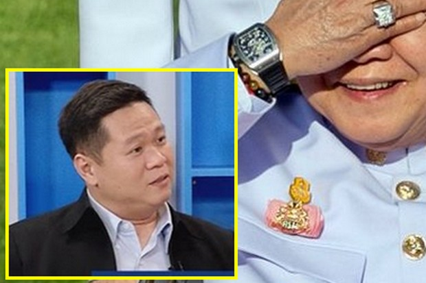The head of the Nida Poll, Arnond Sakworawich (inset) resigns after the junta successfully demanded that Nida suppress his survey showing 85% of the public don't believe Gen Prawit's explanation about the watches. (Photos Bangkok Post, Nida.ac.th)