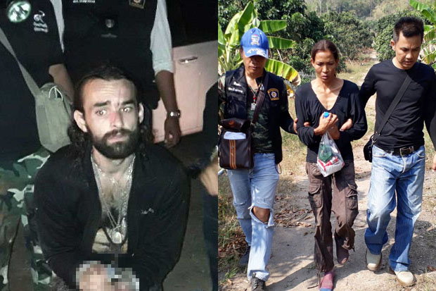 Frenchman Amaury Rigaud, 33, (left) was arrested on Sunday evening and his Thai girlfriend Rujira Klaylamai, 38, (right) was caught on Monday morning. (Photos and video by Sitthipoj Kebui)