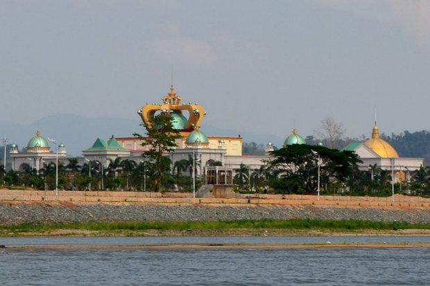 The Kings Romans casino, clearly visible from the Thai side of the Mekong River from the Chiang Rai Golden Triangle area, is allegedly involved in drug and human trafficking, and other crimes. (Photo provided)