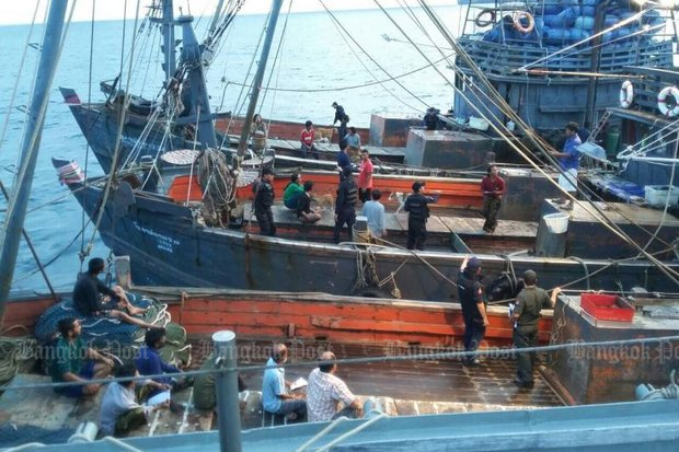 Flashback, November 2015: Three trawlers were raided at sea in a joint operation to crack down on illegal fishing in Trang province. Police arrested the skippers of the vessels on charges of human trafficking, along with the president of Kantang Fishing Association. (Bangkok Post file photo)