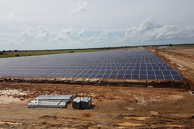 A solar panel installation in Cambodia. (Khmer Times photo)