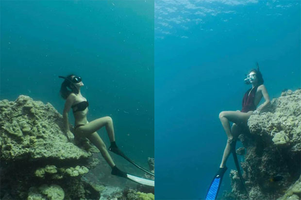 Pictures of snorkellers posing on coral have prompted warnings that areas of damaged coral must remain off-limits in Thai seas. (Photos from the Facebook page of Jirapong Jeewarongkakul)