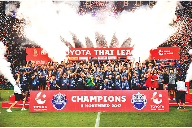 PARTY TIME: Buriram United celebrate after capturing the 2017 Thai League 1 title.