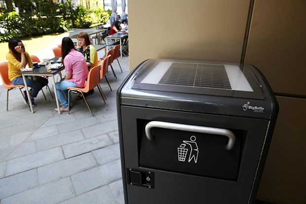 Smart solar-powered bins at various locations in Biopolis, Singapore. (TODAY photo)