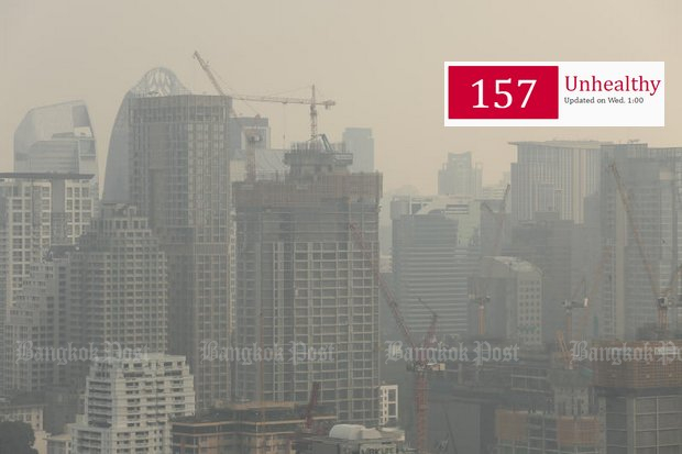 Harmful pollution levels persist across Bangkok, but Prime Minister Prayut Chan-o-cha says he has called in artificial rain makers to solve the problem. (Photo by Patipat Janthong)