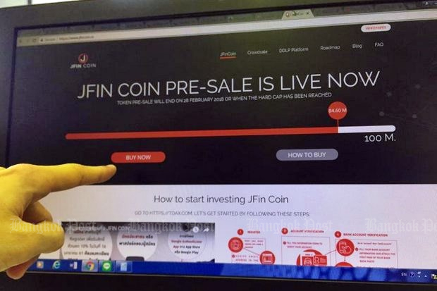 The JFin coin presale is conducted entirely through online transactions. (Photo by Oranan Paweewun)