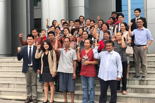 'We Walk' organisers and marchers celebrate their victory on Thursday after the Supreme Administrative Court upheld the lower court's order to grant them an injunction. (Photo from People GO network Facebook)
