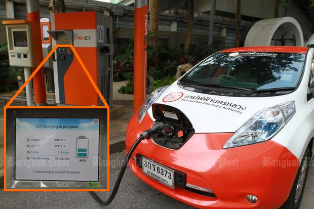 Quick and normal (inset) charging facilities are available - at the Ploenchit Road headquarters of the Metropolitan Electricity Authority. (Photo by Somchai Poomlard)