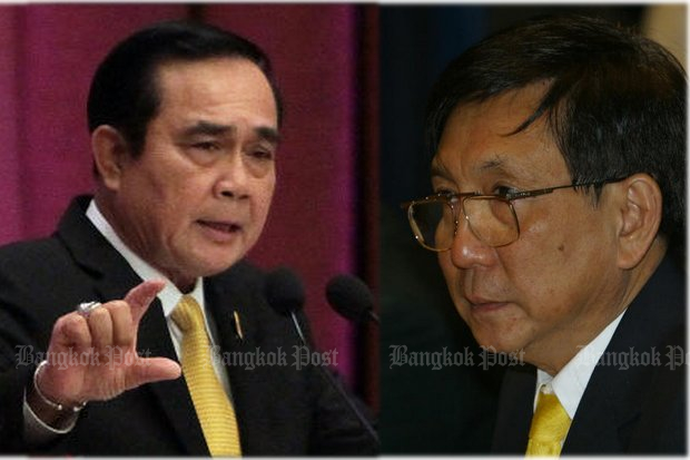 Totrakul Yomnak, an appointed member of the prime minister's anti-corruption drive, wrote to Gen Prayut to suggest that the controversy over the watches of Deputy Prime Minister Prawit Wongsuwon was harming the public's credibility. (File photos)