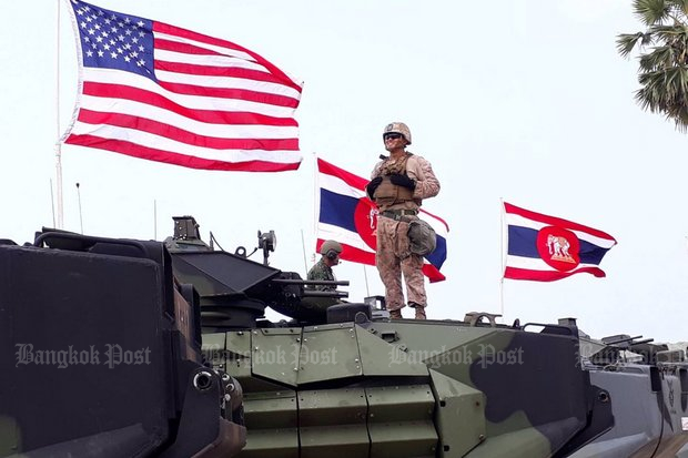 Cobra Gold 2018, Day 5 at Hat Yao Beach, Chon Buri province. Thai, US and Korean forces staged a landing and 'invasion' of a village for civil affairs programmes. (File photo)