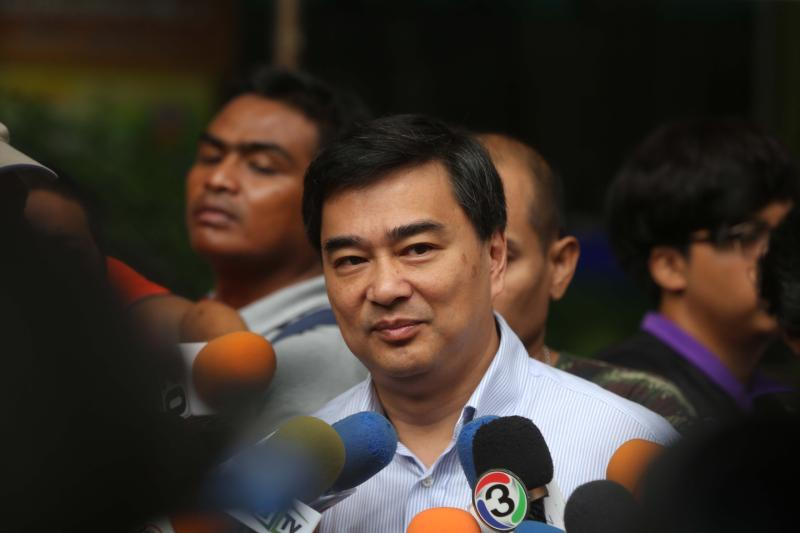 Democrat Party leader Abhisit Vejjajiva rules out a post-election alliance with the Pheu Thai Party. (Bangkok Post photo)