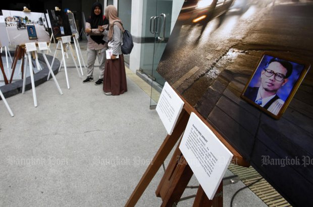 A photo of disappeared Somchai Neelapaijit featured at an exhibition, 'For Those Who Died Trying', at Pridi Banomyong Institute in March last year. (File photo by Thanarak Khunton)