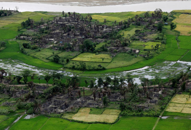 Aerial view of a burned Rohingya village near Maungdaw, north of Rakhine State, Myanmar, Sept 27, 2017. (Reuters photo)