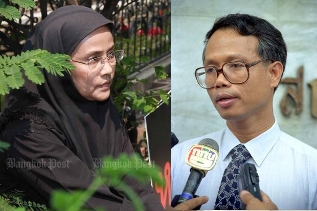 Angkhana Neelapaijit, speaking on the 14th anniversary of the abduction and disappearance of her husband, civil rights lawyer Somchai, says the case shows the end of justice in Thailand. (File photos)
